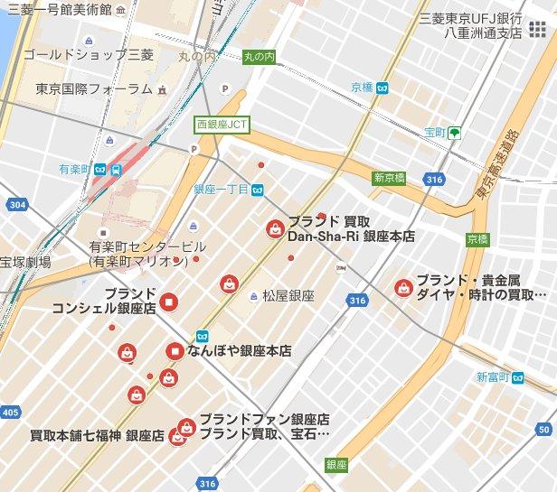 銀座コインショップ所在地地図画像